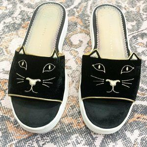 Charlotte Olympia Black Kitty Flat Slide Sandals